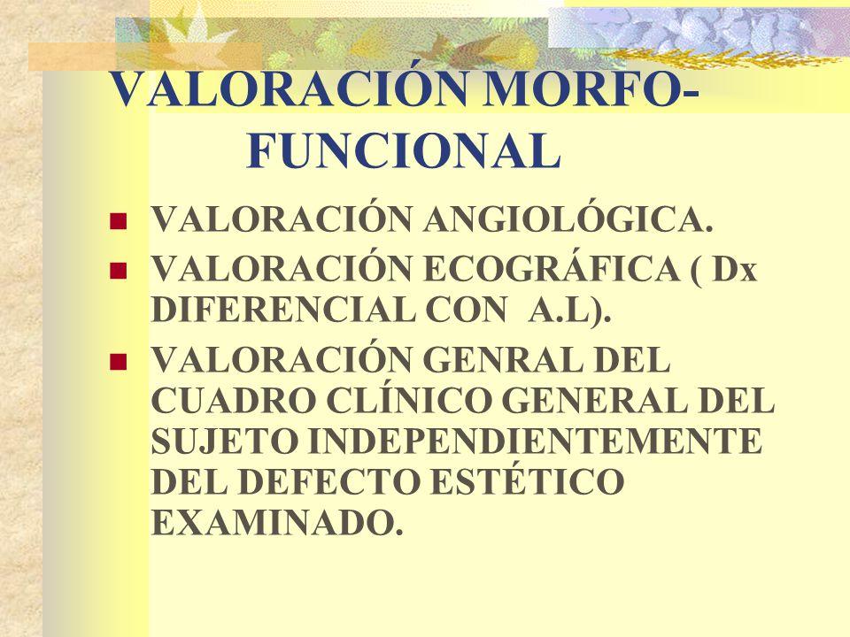 VALORACIÓN MORFO- FUNCIONAL VALORACIÓN ANGIOLÓGICA.