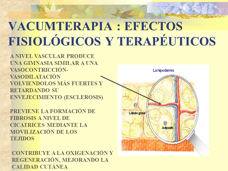 VACUMTERAPIA : EFECTOS FISIOLÓGICOS Y TERAPÉUTICOS A NIVEL VASCULAR PRODUCE UNA GIMNASIA SIMILAR A UNA VASOCONTRICCIÓN- VASODILATACIÓN VOLVIENDOLOS MÁS FUERTES Y RETARDANDO SU ENVEJECIMIENTO (ESCLEROSIS) PREVIENE LA FORMACIÓN DE FIBROSIS A NIVEL DE CICATRICES MEDIANTE LA MOVILIZACIÓN DE LOS TEJIDOS CONTRIBUYE A LA OXIGENACIÓN Y REGENERACIÓN, MEJORANDO LA CALIDAD CUTÁNEA