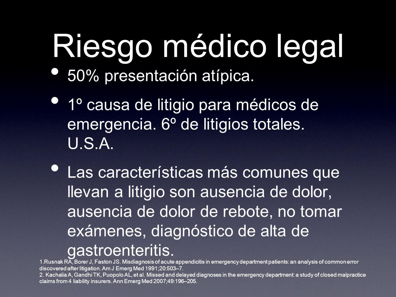 Riesgo médico legal 50% presentación atípica. 1º causa de litigio para médicos de emergencia.