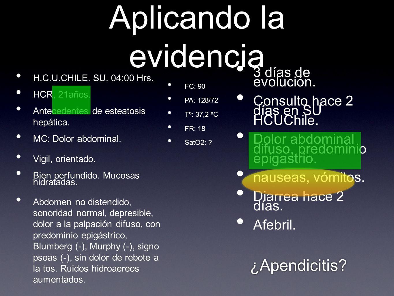 Aplicando la evidencia H.C.U.CHILE. SU. 04:00 Hrs.
