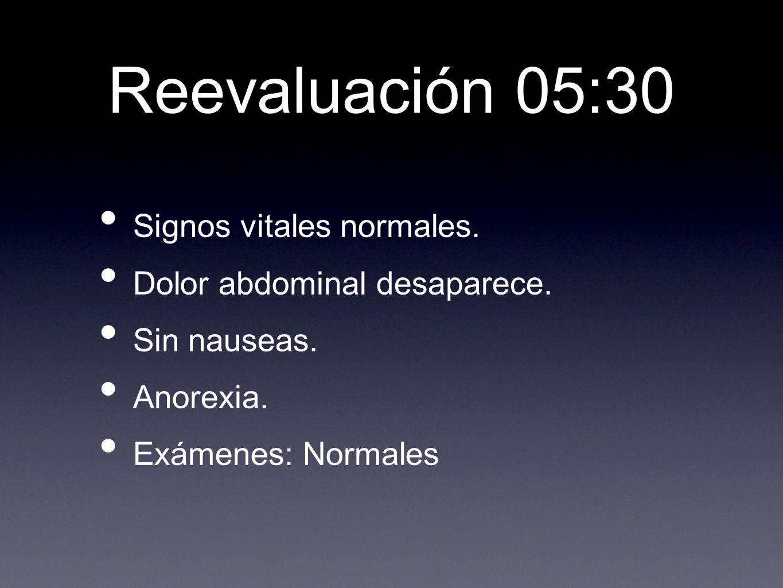 Reevaluación 05:30 Signos vitales normales. Dolor abdominal desaparece.
