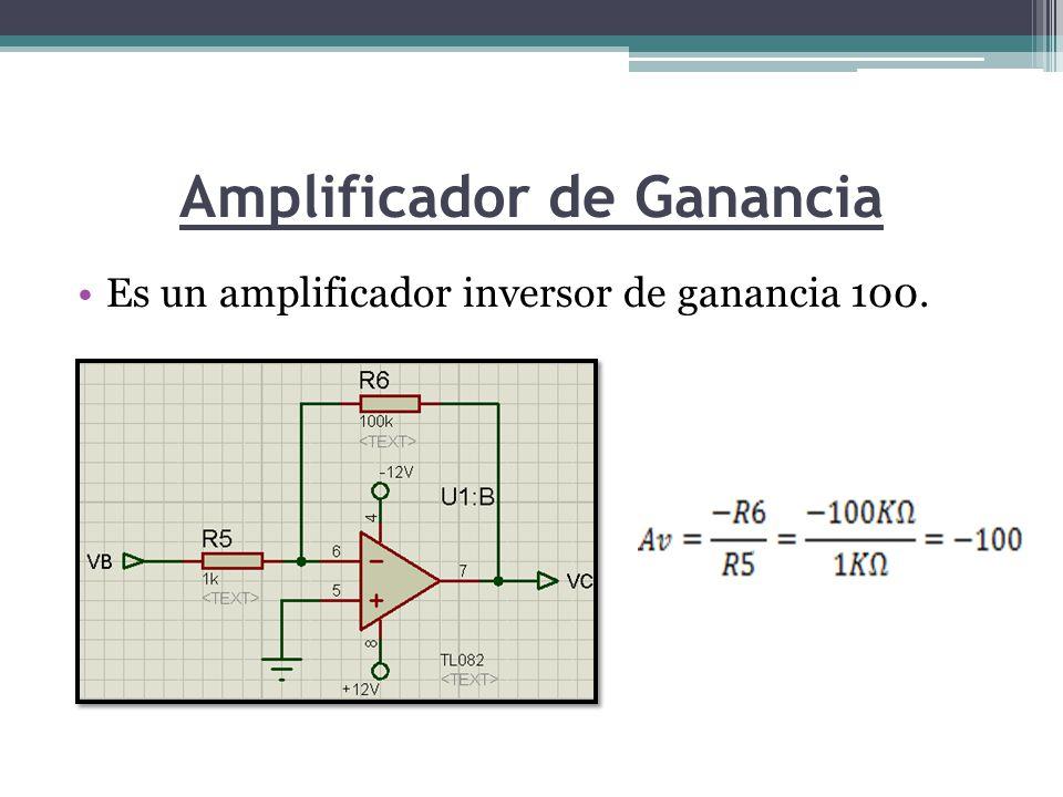 Amplificador de Ganancia Es un amplificador inversor de ganancia 100.
