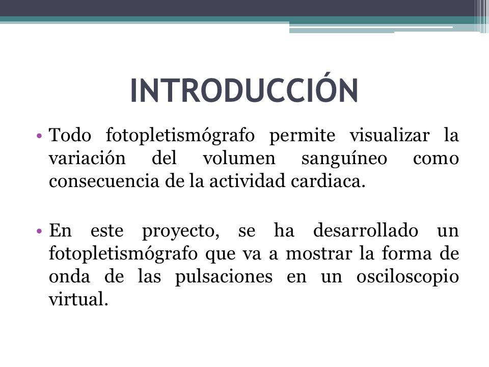 INTRODUCCIÓN Todo fotopletismógrafo permite visualizar la variación del volumen sanguíneo como consecuencia de la actividad cardiaca.