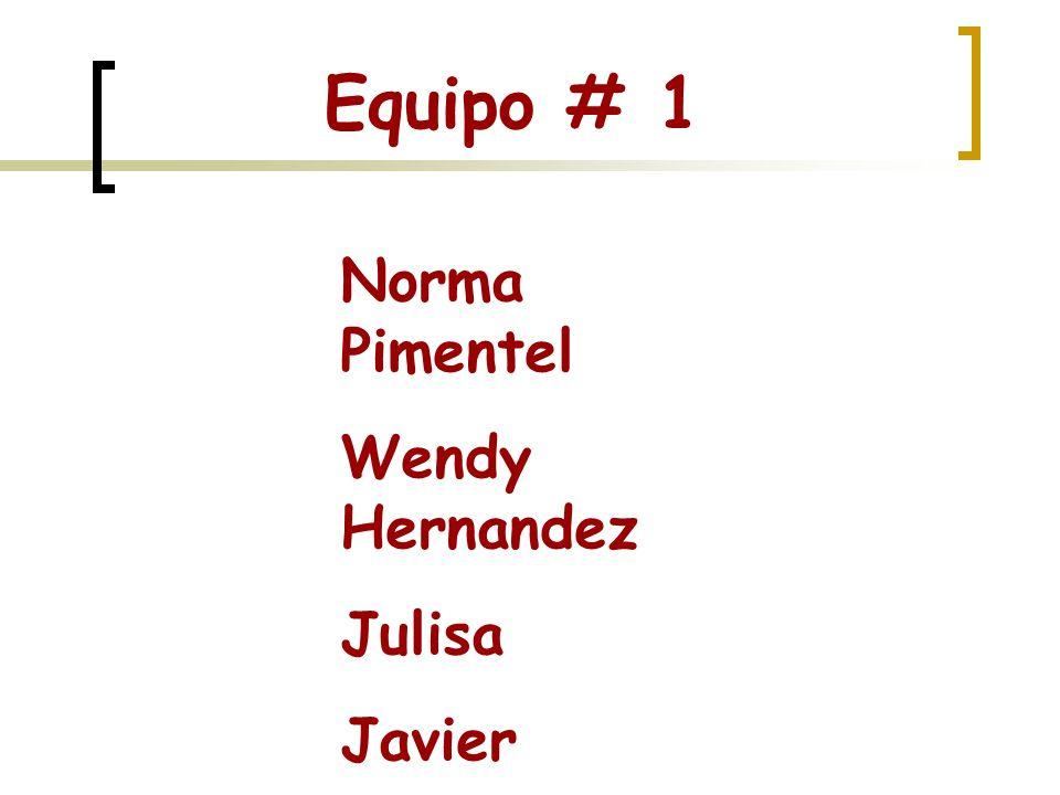 Equipo # 1 Norma Pimentel Wendy Hernandez Julisa Javier Mario Tristán