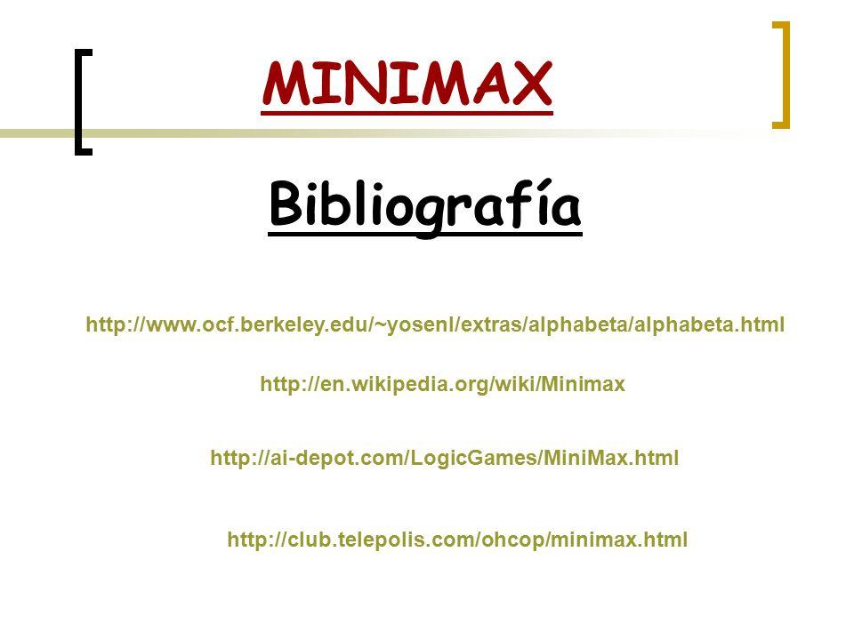 MINIMAX Bibliografía http://www.ocf.berkeley.edu/~yosenl/extras/alphabeta/alphabeta.html http://en.wikipedia.org/wiki/Minimax http://ai-depot.com/LogicGames/MiniMax.html http://club.telepolis.com/ohcop/minimax.html