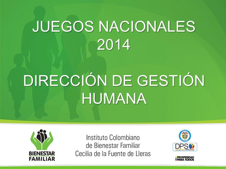 JUEGOS NACIONALES 2014 DIRECCIÓN DE GESTIÓN HUMANA