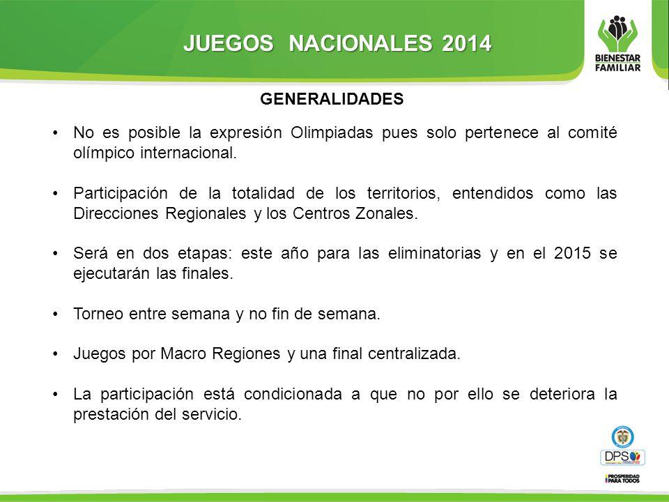 JUEGOS NACIONALES 2014 GENERALIDADES No es posible la expresión Olimpiadas pues solo pertenece al comité olímpico internacional.