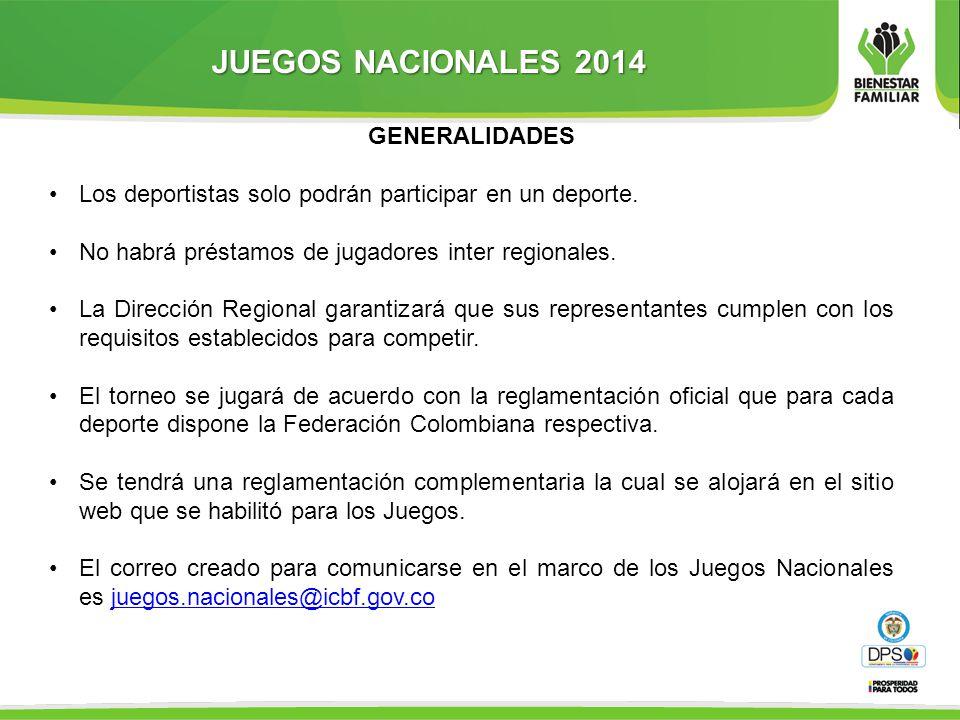 JUEGOS NACIONALES 2014 GENERALIDADES Los deportistas solo podrán participar en un deporte.