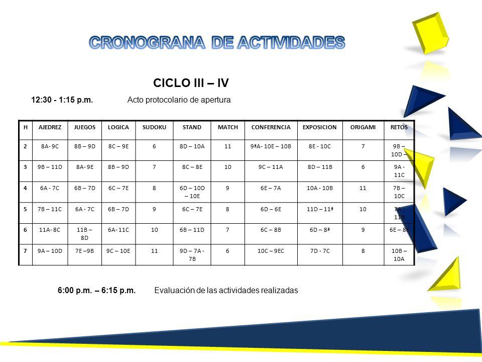 CICLO III – IV 12:30 - 1:15 p.m.Acto protocolario de apertura HAJEDREZJUEGOSLOGICASUDOKUSTANDMATCHCONFERENCIAEXPOSICIONORIGAMIRETOS 28A- 9C8B – 9D8C – 9E68D – 10A119ªA- 10E – 10B8E - 10C79B – 10D – 39B – 11D8A- 9E8B – 9D78C – 8E109C – 11A8D – 11B69A - 11C 46A - 7C6B – 7D6C – 7E86D – 10D – 10E 96E – 7A10A - 10B117B – 10C 57B – 11C6A - 7C6B – 7D96C – 7E86D – 6E11D – 11ª107A - 11B 611A- 8C11B – 8D 6A- 11C106B – 11D76C – 8B6D – 8ª96E – 8E 79A – 10D7E –9B9C – 10E119D – 7A - 7B 610C – 9EC7D - 7C810B – 10A 6:00 p.m.