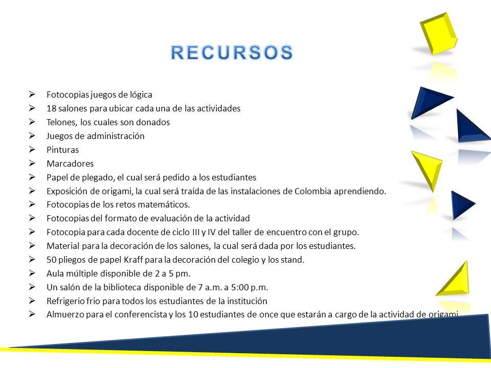  Fotocopias juegos de lógica  18 salones para ubicar cada una de las actividades  Telones, los cuales son donados  Juegos de administración  Pinturas  Marcadores  Papel de plegado, el cual será pedido a los estudiantes  Exposición de origami, la cual será traída de las instalaciones de Colombia aprendiendo.