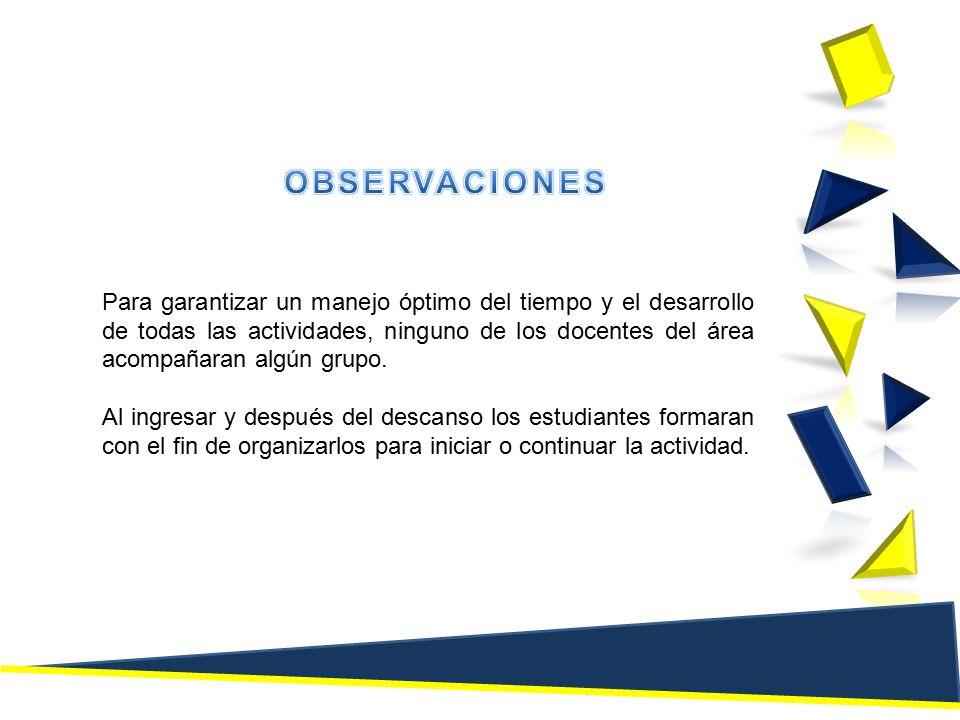 Para garantizar un manejo óptimo del tiempo y el desarrollo de todas las actividades, ninguno de los docentes del área acompañaran algún grupo.
