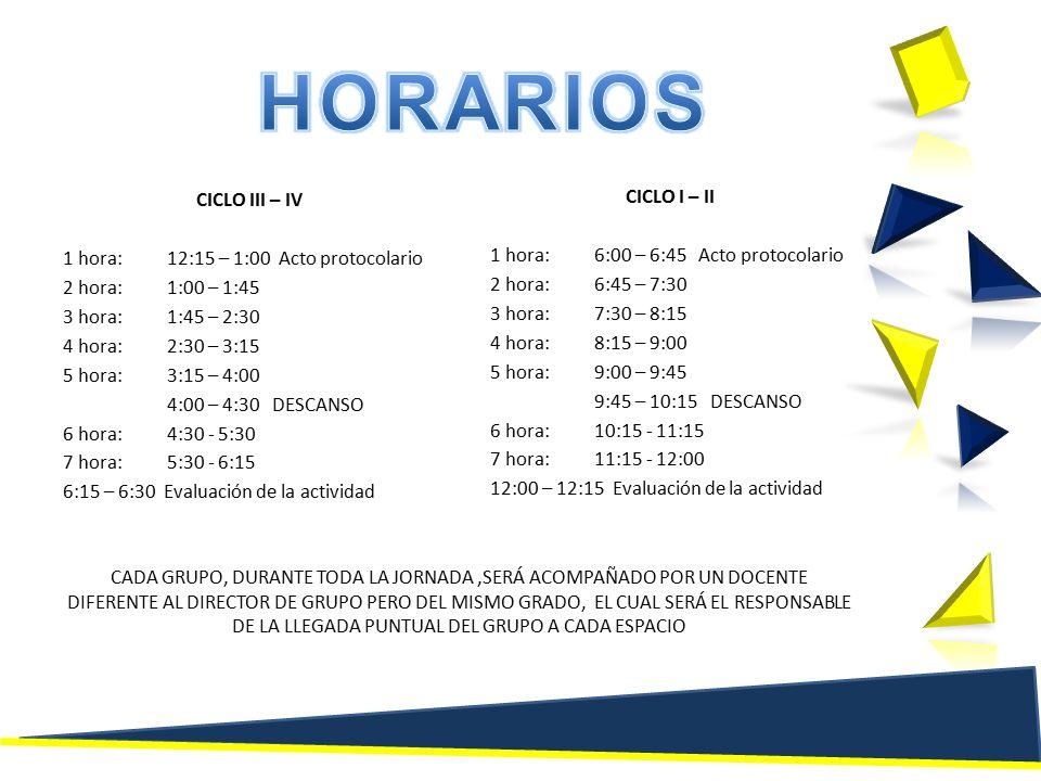 CADA GRUPO, DURANTE TODA LA JORNADA,SERÁ ACOMPAÑADO POR UN DOCENTE DIFERENTE AL DIRECTOR DE GRUPO PERO DEL MISMO GRADO, EL CUAL SERÁ EL RESPONSABLE DE LA LLEGADA PUNTUAL DEL GRUPO A CADA ESPACIO CICLO III – IV 1 hora: 12:15 – 1:00 Acto protocolario 2 hora:1:00 – 1:45 3 hora: 1:45 – 2:30 4 hora:2:30 – 3:15 5 hora: 3:15 – 4:00 4:00 – 4:30 DESCANSO 6 hora: 4:30 - 5:30 7 hora: 5:30 - 6:15 6:15 – 6:30 Evaluación de la actividad CICLO I – II 1 hora: 6:00 – 6:45Acto protocolario 2 hora:6:45 – 7:30 3 hora: 7:30 – 8:15 4 hora:8:15 – 9:00 5 hora: 9:00 – 9:45 9:45 – 10:15 DESCANSO 6 hora: 10:15 - 11:15 7 hora: 11:15 - 12:00 12:00 – 12:15 Evaluación de la actividad