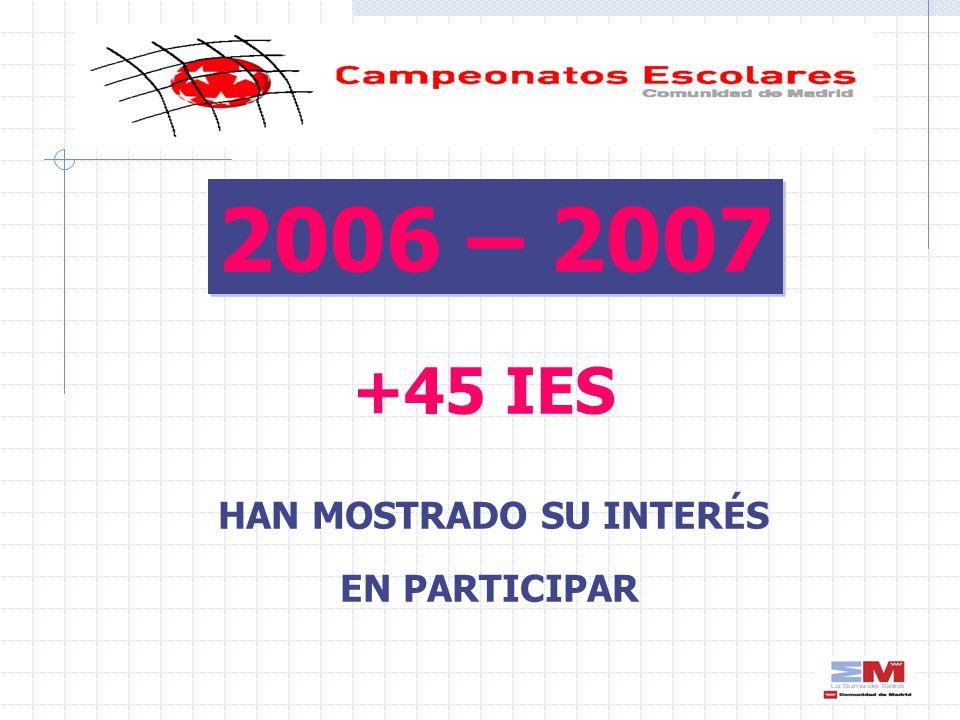 +45 IES HAN MOSTRADO SU INTERÉS EN PARTICIPAR 2006 – 2007