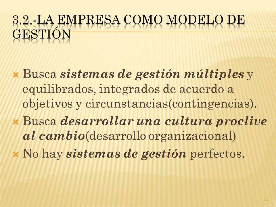  Busca sistemas de gestión múltiples y equilibrados, integrados de acuerdo a objetivos y circunstancias(contingencias).