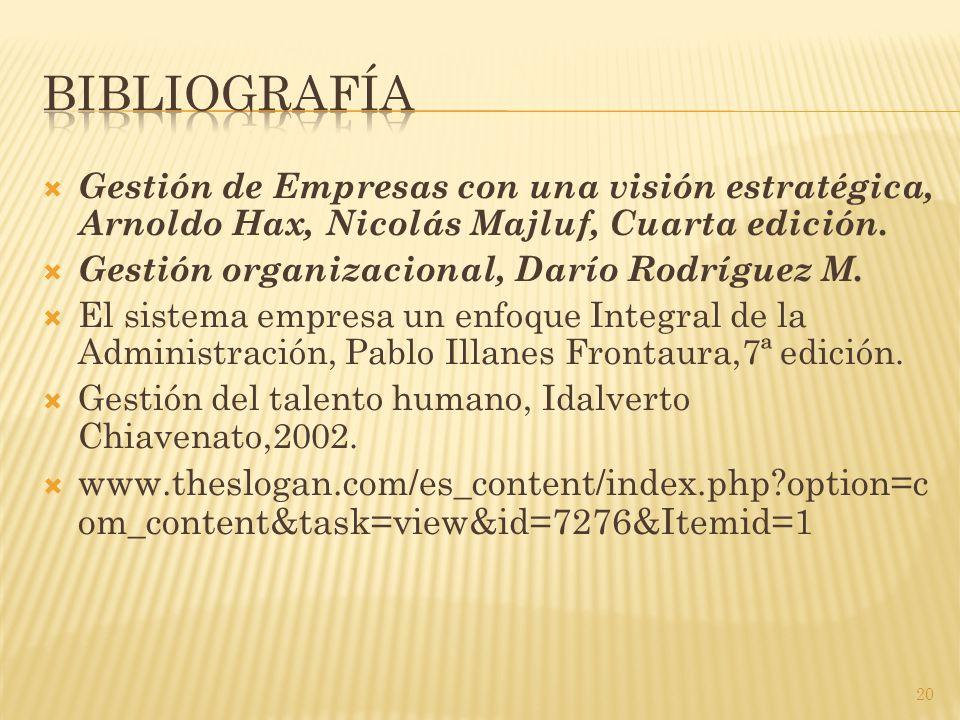  Gestión de Empresas con una visión estratégica, Arnoldo Hax, Nicolás Majluf, Cuarta edición.