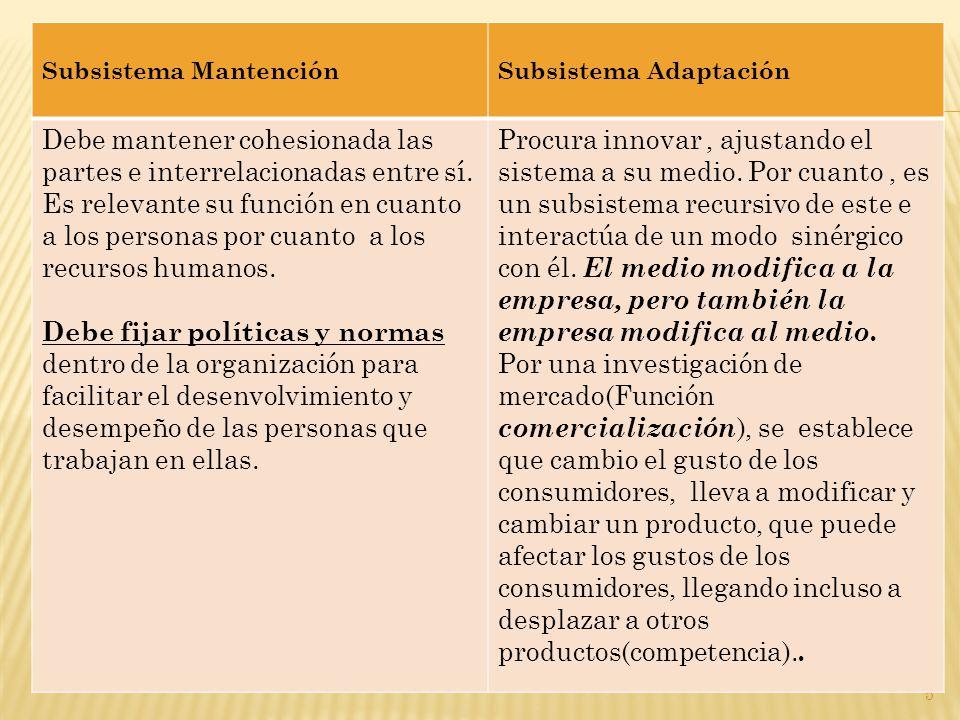 5 Subsistema MantenciónSubsistema Adaptación Debe mantener cohesionada las partes e interrelacionadas entre sí.