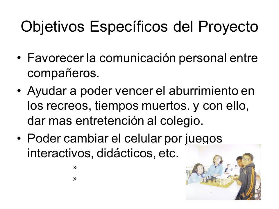 Objetivos Específicos del Proyecto Favorecer la comunicación personal entre compañeros.