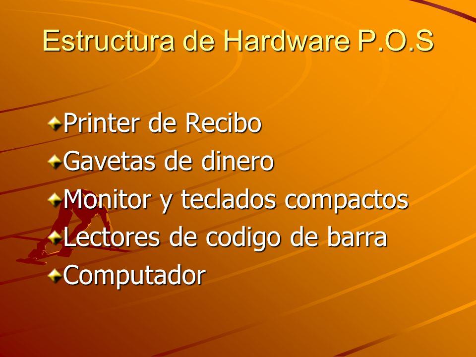 Estructura de Hardware P.O.S Printer de Recibo Gavetas de dinero Monitor y teclados compactos Lectores de codigo de barra Computador