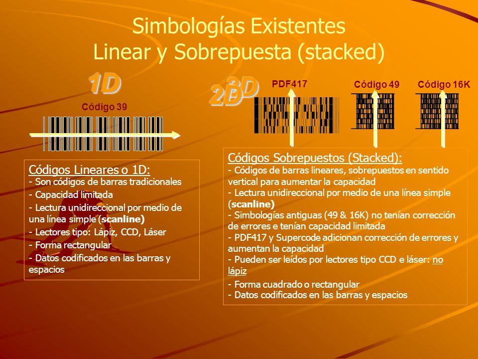 Simbologías Existentes Linear y Sobrepuesta (stacked) Códigos Sobrepuestos (Stacked): - Códigos de barras lineares, sobrepuestos en sentido vertical para aumentar la capacidad - Lectura unidireccional por medio de una línea simple (scanline) - Simbologías antiguas (49 & 16K) no tenían corrección de errores e tenían capacidad limitada - PDF417 y Supercode adicionan corrección de errores y aumentan la capacidad - Pueden ser leídos por lectores tipo CCD e láser: no lápiz - Forma cuadrado o rectangular - Datos codificados en las barras y espacios PDF417 Código 49Código 16K Códigos Lineares o 1D: - Son códigos de barras tradicionales - Capacidad limitada - Lectura unidireccional por medio de una línea simple (scanline) - Lectores tipo: Lápiz, CCD, Láser - Forma rectangular - Datos codificados en las barras y espacios Código 39