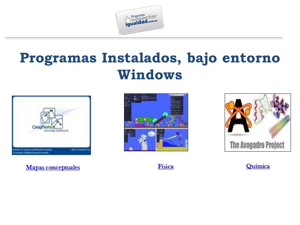 Programas Instalados, bajo entorno Windows Mapas conceptuales Física Química