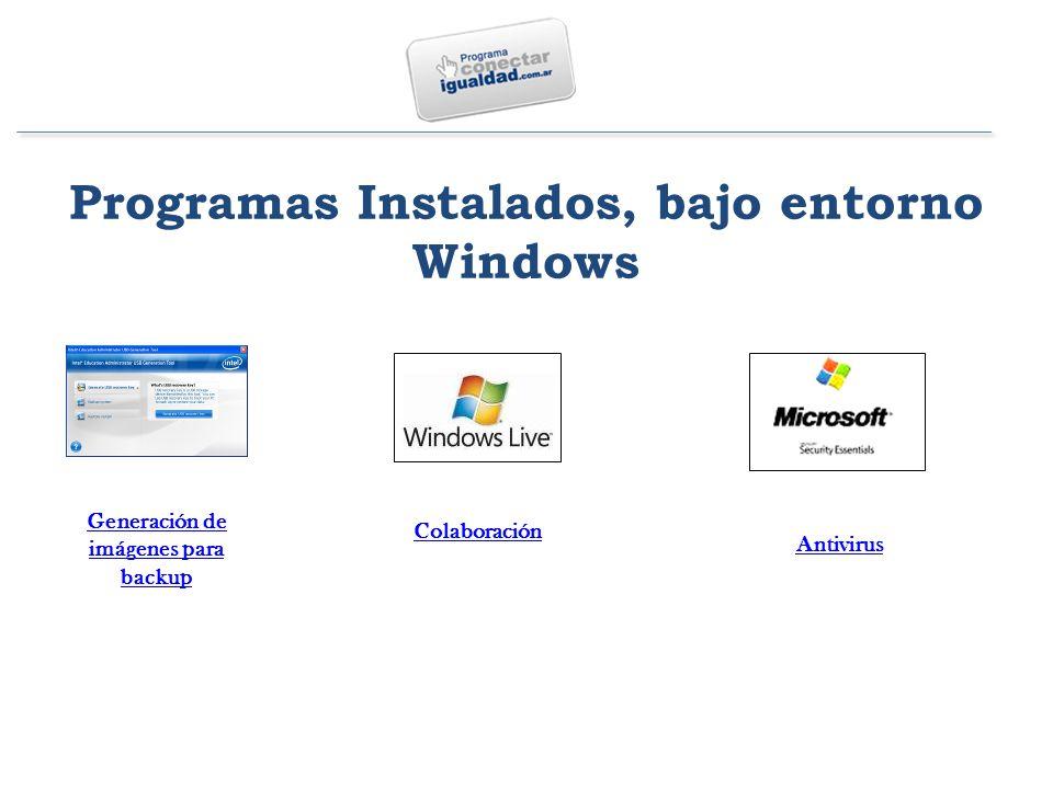 Programas Instalados, bajo entorno Windows Generación de imágenes para backup Colaboración Antivirus