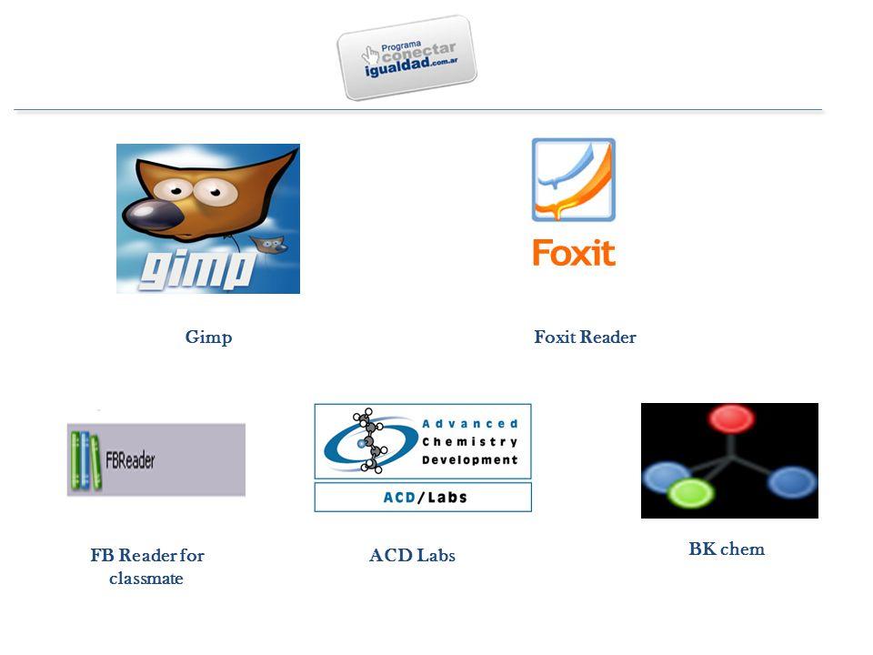 BK chem ACD LabsFB Reader for classmate Gimp Foxit Reader