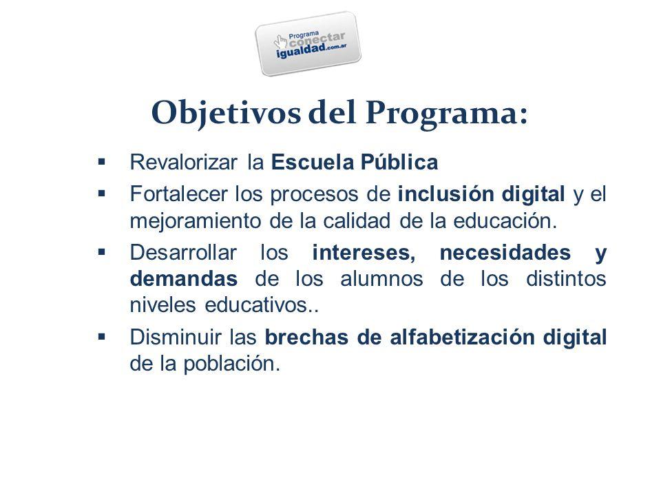 Finalidad  Revalorizar la Escuela Pública  Fortalecer los procesos de inclusión digital y el mejoramiento de la calidad de la educación.