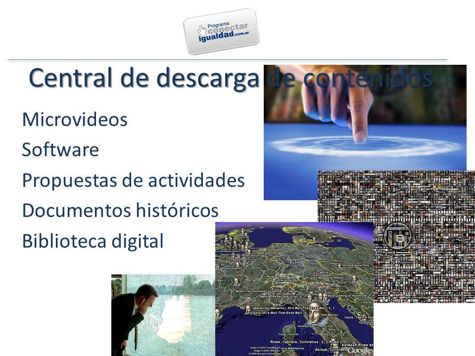 Central de descarga de contenidos Microvideos Software Propuestas de actividades Documentos históricos Biblioteca digital