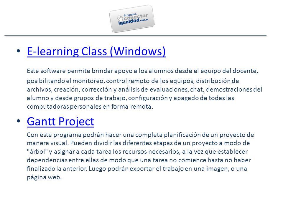 E-learning Class (Windows) Este software permite brindar apoyo a los alumnos desde el equipo del docente, posibilitando el monitoreo, control remoto de los equipos, distribución de archivos, creación, corrección y análisis de evaluaciones, chat, demostraciones del alumno y desde grupos de trabajo, configuración y apagado de todas las computadoras personales en forma remota.
