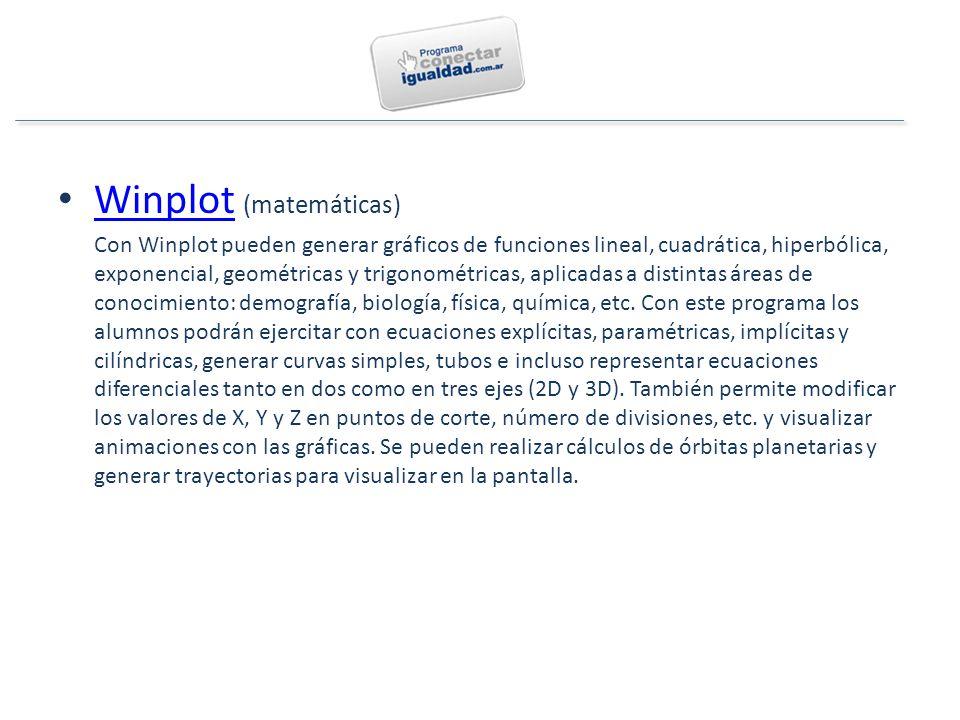 Winplot (matemáticas) Winplot Con Winplot pueden generar gráficos de funciones lineal, cuadrática, hiperbólica, exponencial, geométricas y trigonométricas, aplicadas a distintas áreas de conocimiento: demografía, biología, física, química, etc.