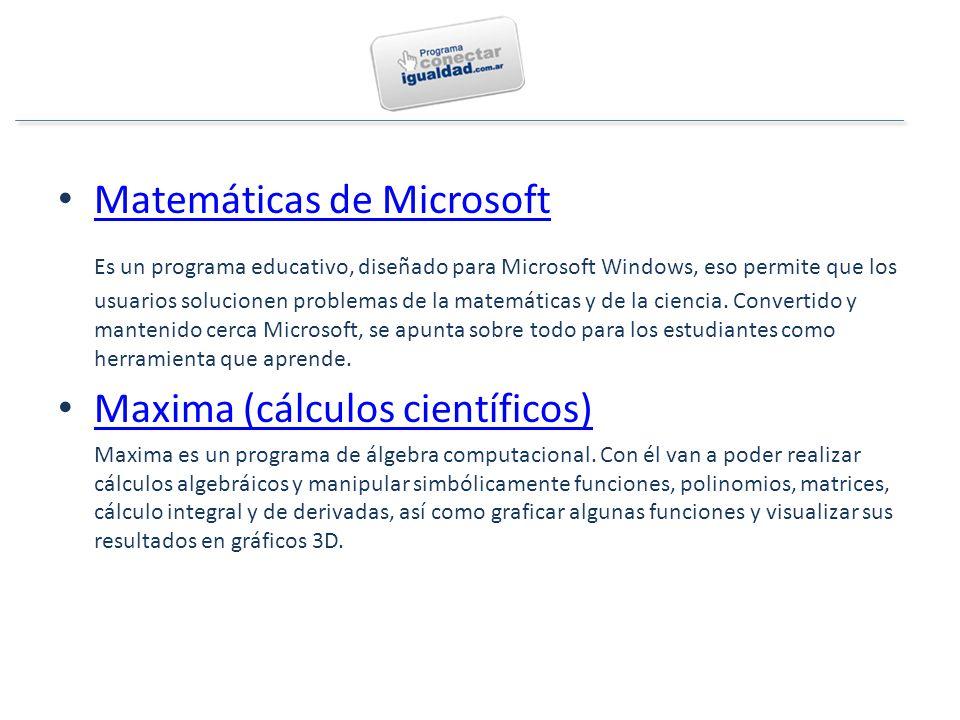 Matemáticas de Microsoft Es un programa educativo, diseñado para Microsoft Windows, eso permite que los usuarios solucionen problemas de la matemáticas y de la ciencia.