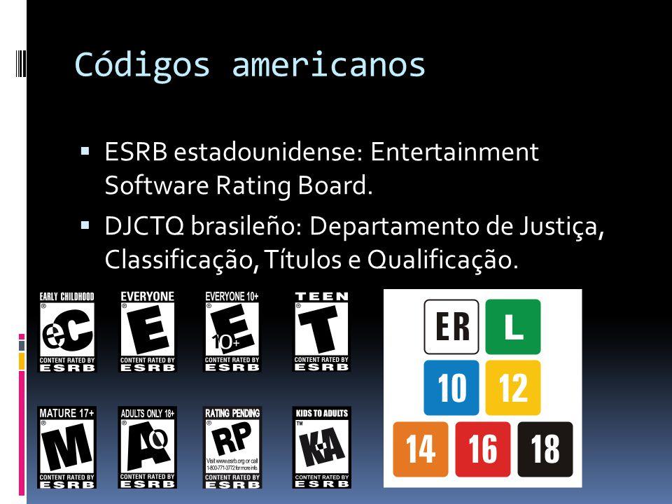 Códigos americanos  ESRB estadounidense: Entertainment Software Rating Board.