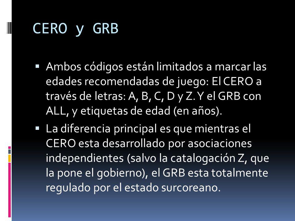 CERO y GRB  Ambos códigos están limitados a marcar las edades recomendadas de juego: El CERO a través de letras: A, B, C, D y Z.