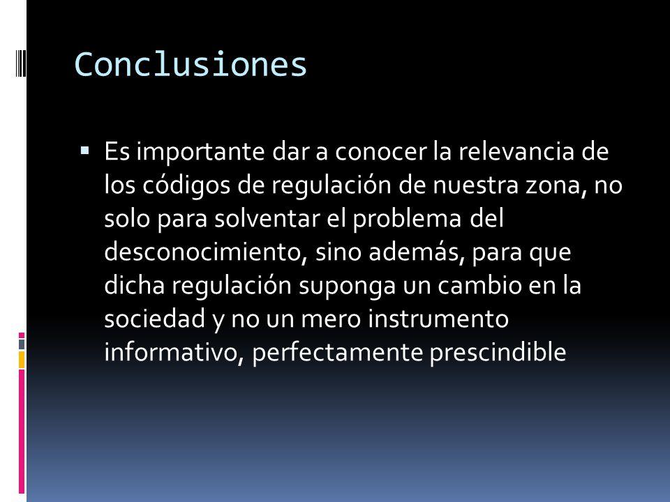 Conclusiones  Es importante dar a conocer la relevancia de los códigos de regulación de nuestra zona, no solo para solventar el problema del desconocimiento, sino además, para que dicha regulación suponga un cambio en la sociedad y no un mero instrumento informativo, perfectamente prescindible