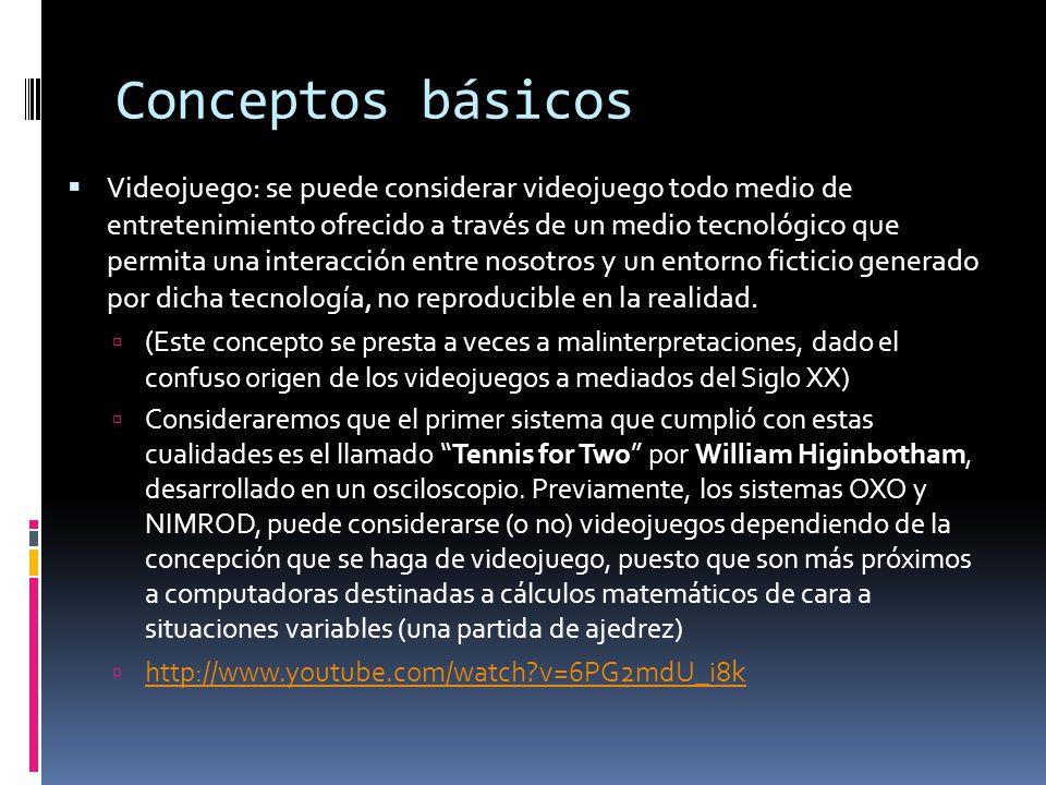 Conceptos básicos  Videojuego: se puede considerar videojuego todo medio de entretenimiento ofrecido a través de un medio tecnológico que permita una interacción entre nosotros y un entorno ficticio generado por dicha tecnología, no reproducible en la realidad.