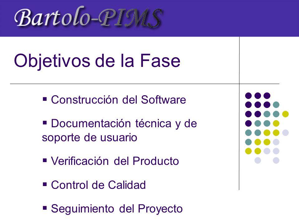 Objetivos de la Fase  Construcción del Software  Documentación técnica y de soporte de usuario  Verificación del Producto  Control de Calidad  Seguimiento del Proyecto