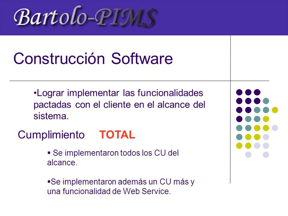 Construcción Software Lograr implementar las funcionalidades pactadas con el cliente en el alcance del sistema.