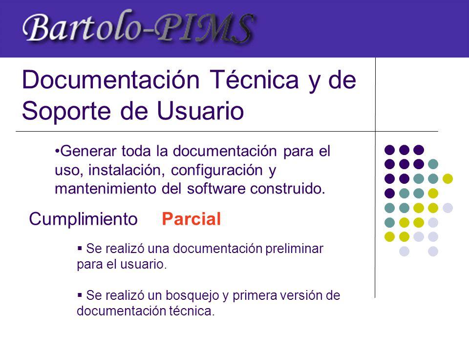 Documentación Técnica y de Soporte de Usuario Cumplimiento  Se realizó una documentación preliminar para el usuario.