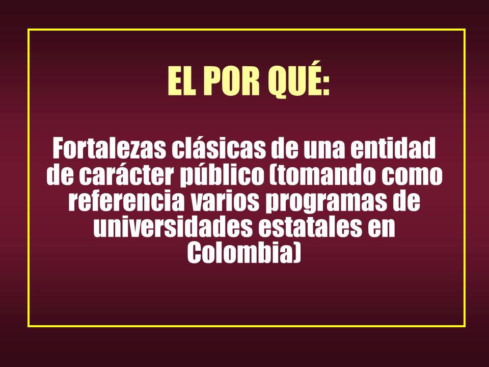 EL POR QUÉ: Fortalezas clásicas de una entidad de carácter público (tomando como referencia varios programas de universidades estatales en Colombia)