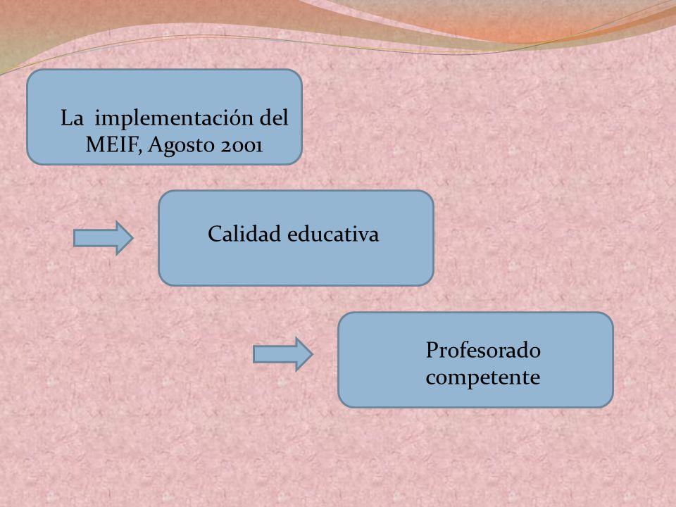 La implementación del MEIF, Agosto 2001 Calidad educativa Profesorado competente