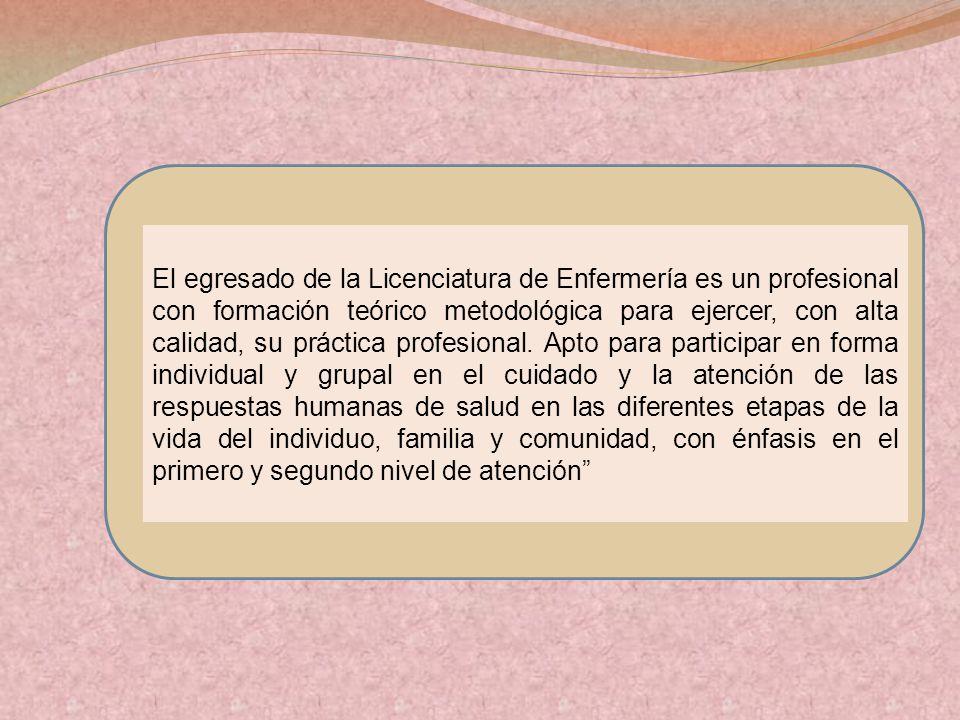 El egresado de la Licenciatura de Enfermería es un profesional con formación teórico metodológica para ejercer, con alta calidad, su práctica profesional.