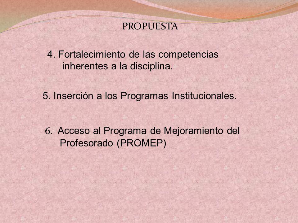 4. Fortalecimiento de las competencias inherentes a la disciplina.