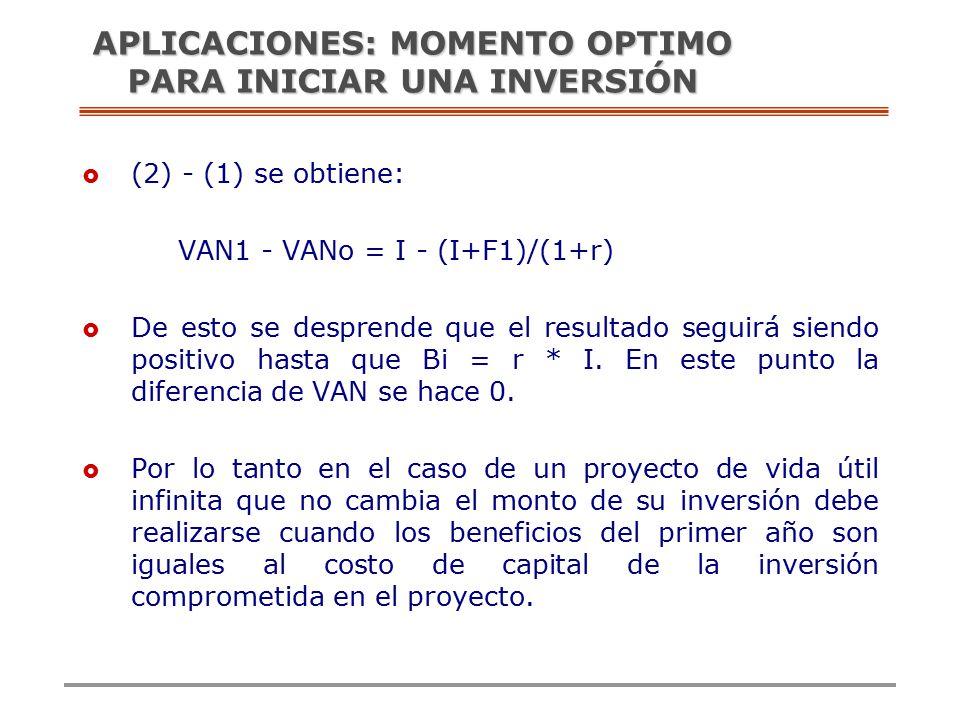  (2) - (1) se obtiene: VAN1 - VANo = I - (I+F1)/(1+r)  De esto se desprende que el resultado seguirá siendo positivo hasta que Bi = r * I.