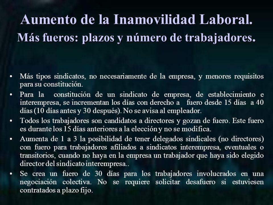 Aumento de la Inamovilidad Laboral. Más fueros: plazos y número de trabajadores.