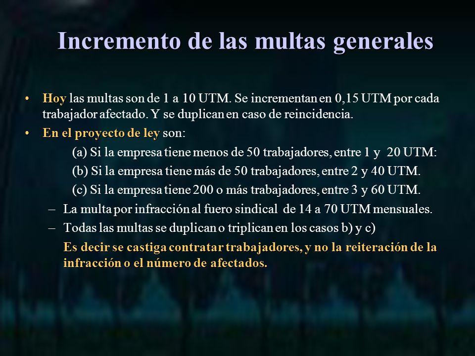 Incremento de las multas generales HoyHoy las multas son de 1 a 10 UTM.