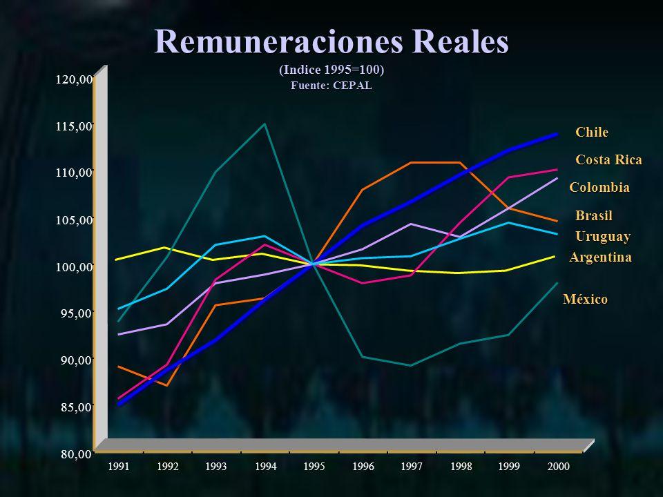 Remuneraciones Reales (Indice 1995=100) Fuente: CEPAL 80,00 85,00 90,00 95,00 100,00 105,00 110,00 115,00 120,00 1991199219931994199519961997199819992000 Argentina Brasil Chile Colombia Costa Rica México Uruguay