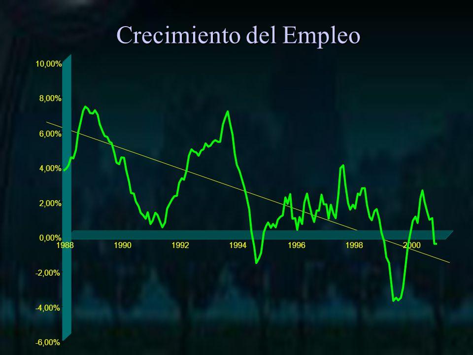 Crecimiento del Empleo -6,00% -4,00% -2,00% 0,00% 2,00% 4,00% 6,00% 8,00% 10,00% 1988199019921994199619982000