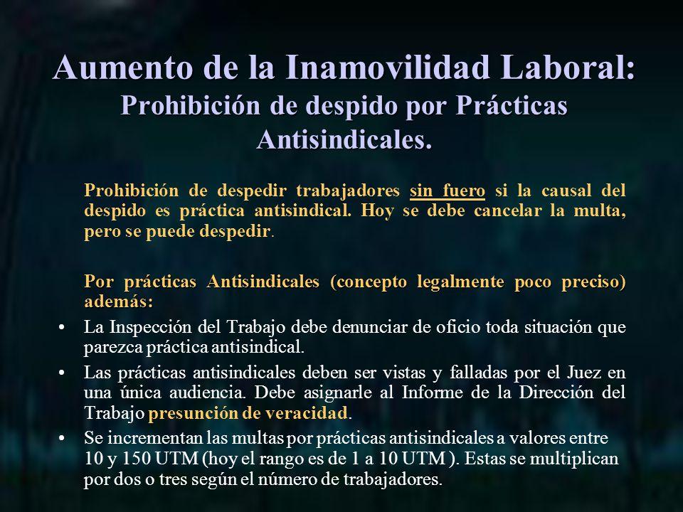 Aumento de la Inamovilidad Laboral: Prohibición de despido por Prácticas Antisindicales.