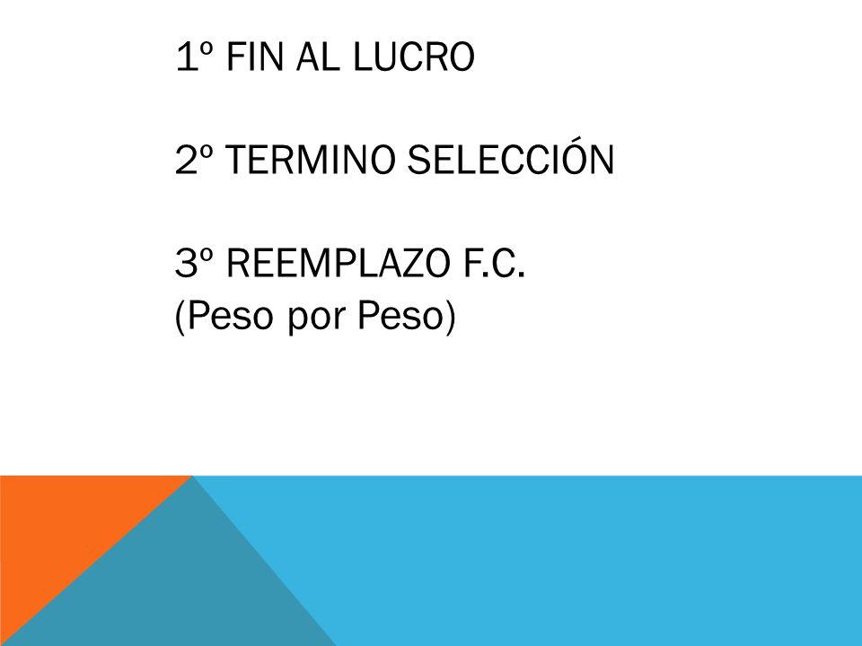 1º FIN AL LUCRO 2º TERMINO SELECCIÓN 3º REEMPLAZO F.C. (Peso por Peso)