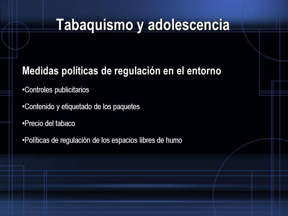 Tabaquismo y adolescencia Medidas políticas de regulación en el entorno Controles publicitarios Contenido y etiquetado de los paquetes Precio del tabaco Políticas de regulación de los espacios libres de humo